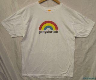 RARE Enjoi Gangster ish Rainbow Soft Skateboarding White Funny T Shirt