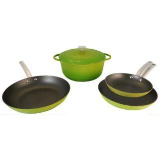 Chef 5 Piece Light Enamel Cast Iron Green Cookware Set on Sale