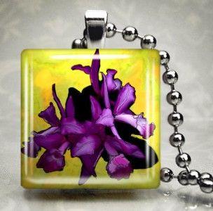 Purple Iris Island Flower Glass Pendant Necklace 446