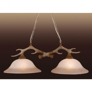 NEW 2 Light Rustic Faux Antler Island Lighting Fixture, Cream Glass