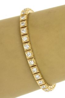 18K Gold 5 Carats Diamonds Ladies Opulent Tennis Style Bracelet