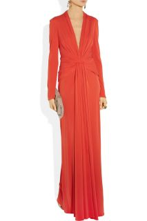 Issa London Red Draped Silk Crepe Jersey Long Sleeve Gown Dress