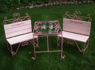 Kids Toddler Table and Chairs Set Tea Party Wooden Bench Iron Pink