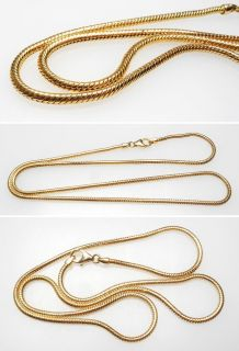 Italy 18 Inch Estate Shake Chain Necklace Solid 14K Yellow Gold