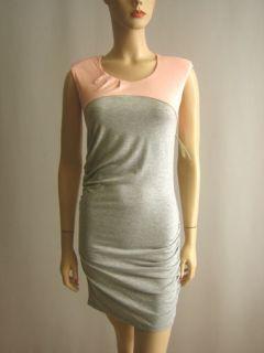 Isabel Lu Round Jewel Neck Colorblock Jersey Sheath Dress Gray Peach s