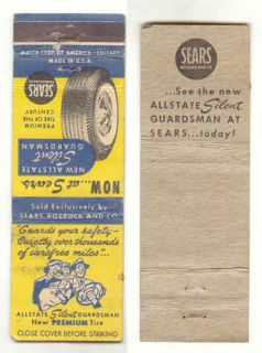 Allstate Silent Guardsman Tires  Roebuck and Co Matchbook