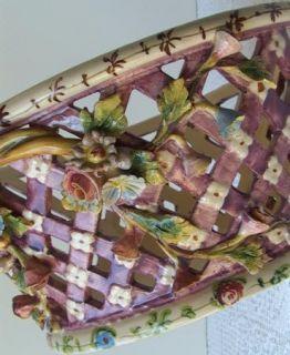 Antique Italian Art Pottery Basket Weave Centerpiece Capodimonte
