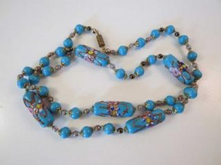 Vtg Italian Turquoise Blue Wedding Cake Bead Necklace