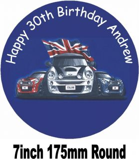 Mini Cooper Italian Job Birthday Cake Topper Personalised Free