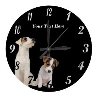 Jack Russell Terrier Puppies Round Wall Clock