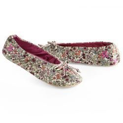 Isotoner Ditsy Floral Stretch Satin Ballet Style Slippers New Soft
