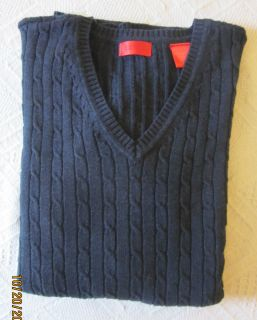 IZOD Mens Basic Cable Knit V Neck Sweater Indigo Navy XL