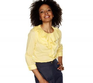 ISAAC MIZRAHI LIVE Cotton Swiss Dot Ruffle Blouse 3 4 Slv Lemon 2X NWT