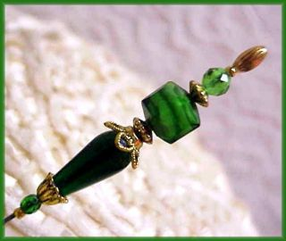 Green White Lampwork Glass Crystal Ladies Gold hatpin Check Out Free