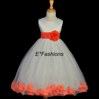 Ivory Orange Wedding Flower Girl Dress 12M 18M 2 2T 4 4T 5 6 6X 7 8 9