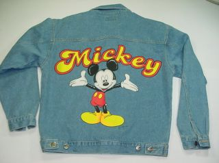 DISNEY DISNEYLAND MICKEY MOUSE DENIM JEAN JACKET Mens M Jerry Leigh