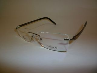 Italian Eyewear Rimless Titanium Gun Metal Eyeglass Frames Large