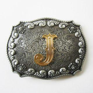 Initial Letter J Cowboy Rodeo Western Metal Belt Buckle