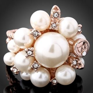 ARINNA Swarovski Crystal Pearl Rose Gold GP Finger Ring