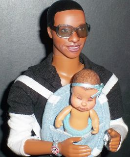 OOAK Beyonce Jay Z Baby Blue Ivy Barbie Basic Ken Doll Repaints Music