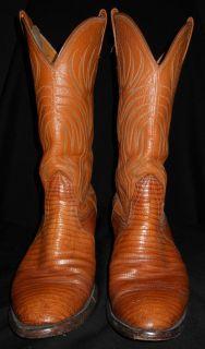 Lizzard Skin Cowboy Boots Nocona Peanut Brittle Color Nice Mens 9 D