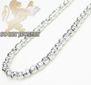 14k White Gold Italian Bead Ball Chain Necklace Ladies