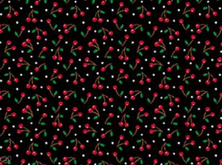 FQ Mary Engelbreit Kitchen Capers Tiny Cherries on Black Fat Quarter