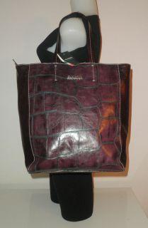 Claudia Firenze Italy Handbag Eggplant Italian Croco Leather Bucket