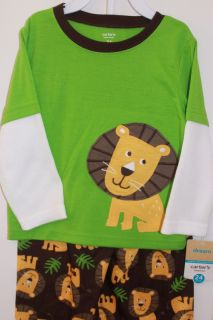 Carters Lion Thermal Pajamas 2 Piece Set Pants Shirt 24 2T 3T 4T 5T
