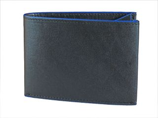 Fold Mens Leather Wallet Clearcut in Black with Blue Trim