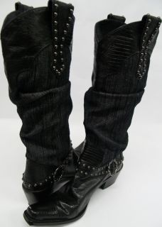 Renee Leather Denim Cowboy Boots Black Sz 8
