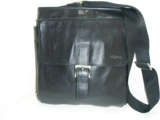 Jack Georges Black Leather Corss Body Shoulder Bag Purse