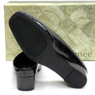 New NIB J RENEE Cheyenne Black Vegan Crinkle Patent Wedge SANDAL MULES