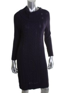 Nina Leonard New Purple Cable Knit Long Sleeve Cowl Neck Sweaterdress