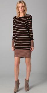 DKNY Striped Crew Neck Sweater Dress