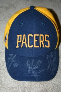 Signed Indiana Pacers Wool Hat Cap Jermaine ONeal Fred Jones