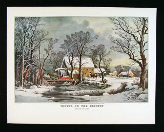Currier Ives Print Winter in The Country Old Grist Mill Snow Horse