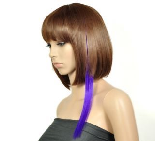 5pcs Synthetic Hairpiece Purple Long Straight Clip in Hair Extension