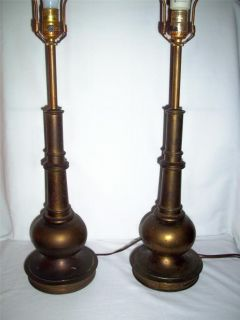Vintage Matching Pair Old Stiffel Brass Table Lamps