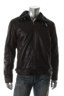 Calvin Klein NEW Black Buckle Neck Faux Fur Lining Zip Shearing Jacket