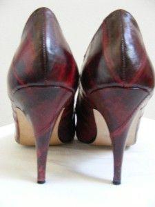 Renee Vtg Eel Skin Leather Deep Burgandy Red 7N Spike Heels 70s 80s