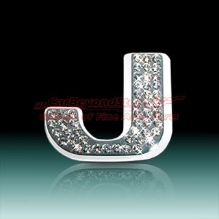 Crystal Letter J Chrome 3D Car Emblem, , High Quality