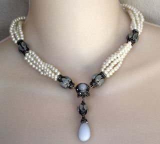 New Judith Jack Pearl Marcasite Smokey Blue Necklace
