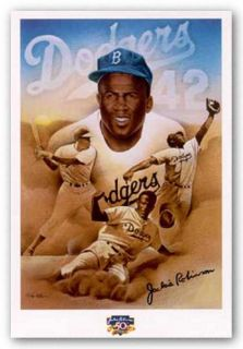African American Art Jackie Robinson by Keith Mallett