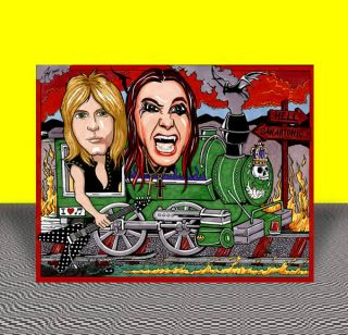 OZZY OSBOURNE RANDY RHOADS w flying V Crazy Train POSTER ART artist