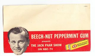 Beech Nut Peppermint Gum Jack Paar Color Card 1950s Unused