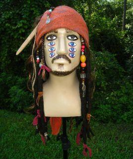 Jack Sparrow Pirate Wig with Bandana Beads Dreadlocks