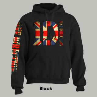 One Direction Union Jack Hoodie 1D Niall Zayn Liam D Black Extra Large