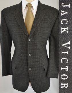Jack Victor Mens Navy Blue 3 Button Wool & Cashmere Sport Coat Blazer