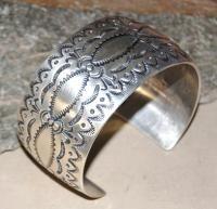 Navajo Native American Sterling Silver Stamped Bracelet